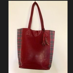 Kelly & Katie red plaid faux leather purse